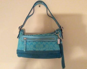 Authentic Aqua/Turquoise Coach Suede, Genuine Leather Trimmed  and C' Canvas Handbag No. 45-9363.