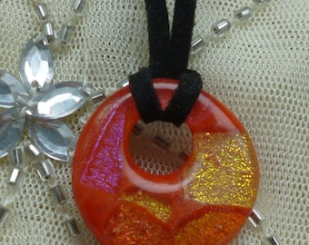 Red Dichroic Fused Glass Pendant.  Round Red Glass Pendant.  Red Necklace.