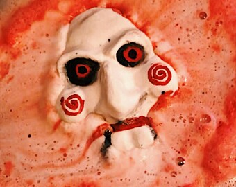 Who Wants to Play a Game? Bath Bomb - Scary Mask Horror Bath Fizzy, Saw Fandom, Bath Fizzies Art, Scary Christmas Gift, Unique Jigsaw Fizzie