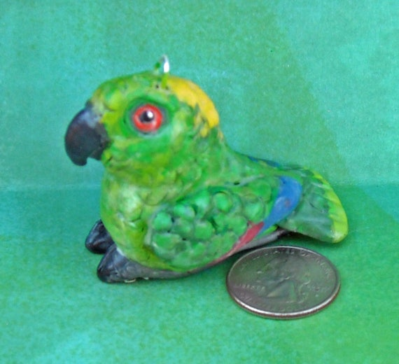 Hand-sculpted One-of-a Kind Sally Blanchard's Tongue-in-Beak Miniature Yellow-naped Amazon Parrot Collectible  Christmas Tree Ornament