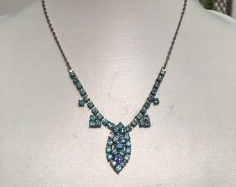 Art Deco Necklace: Vintage Pale Blue Silver Bridal Wedding Necklace