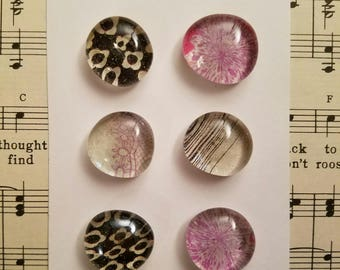 Pink & Black Glass Magnets