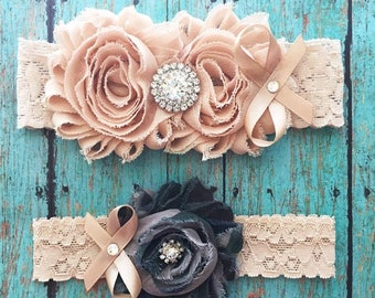 Camouflage and Champagne  Garter Set | Army, Vintage Style Wedding Garters | Bridal and Toss Garter | Other Colors Available