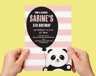 Panda Kids Party Invite First birthday Baby Girl Invite Toddler Pink 1st 2nd 3rd 4th 5th Printable Invite