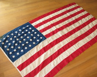 """SALE--Antique American Flag,Large Size Fine Cotton-Bunting-48-Star-United-States-American-6'9""""-x3'9' Stitched-Star-Appliques"""