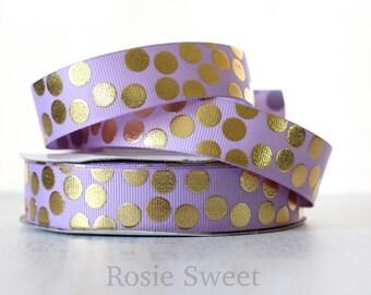 "7/8"" Lavender/Gold Foil Polka Dot Grosgrain Ribbon"