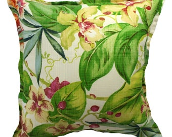 Outdoor / Indoor Tropical Orchid Cushion Cover