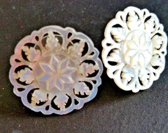 """Vintage Mother of Pearl Earrings Carved White Lacy Wedding Button Post Back 7/8"""""""