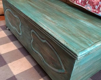 Classic Cedar Chest in Turquoise Chalk paint
