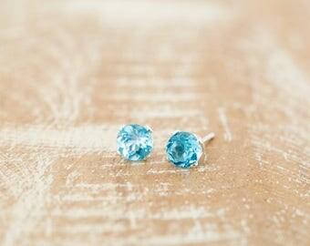 Topaz Earrings/Blue Topaz Stud Earrings/Swiss Blue Topaz Stud earrings/December Birthstone/Wedding jewellery