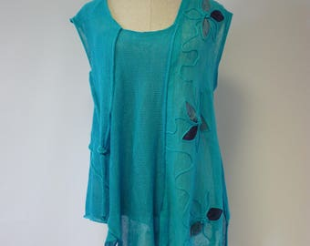 Amazing Summer turquoise linen top, XL size.