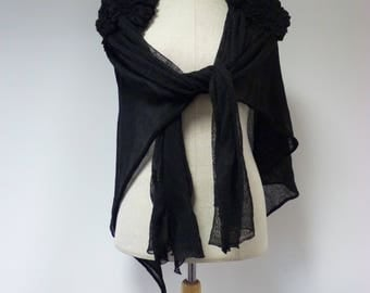 Boho artsy black linen shawl/cape. One size, only one sample.