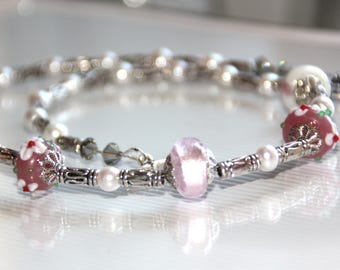 Pink pearl necklace, glass beads, and swarovsky crystal