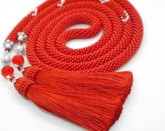 """Bead Crochet Necklace """"flame""""/жгут из бисера/лариат"""