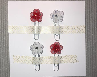 4x Red and White Mesh Flower Paperclips