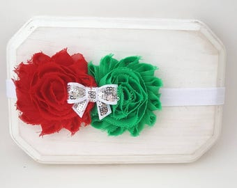 Red and Green Holiday Headband,Red Headband,Christmas Headband,Green Headband,Christmas Hair Bows,Italia Headband,Newborn Headband,Red Bows