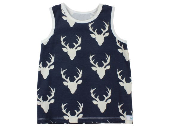 Navy Blue Deer Tank Top