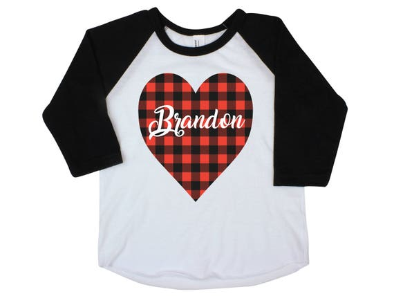 Boy Valentine Shirt Onesie Buffalo Plaid Heart Shirt Valentine's Day Boy Shirt Boy Baby Onesie Boy Bodysuit Boy Raglan Personalized Boy