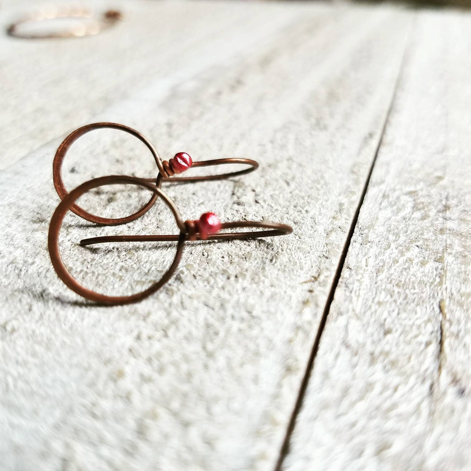 2 Pair  21ga Handmade Antique Antiqued Copper Signature Cherry Red Earring  Findings Open Loops