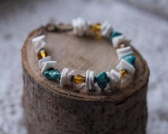 Boho Shell Turquoise Beaded Bracelet
