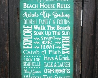 beach house wall art, beach decor, beach house rules, beach sign, beach house gift, beach sign personalized, beach house decoration
