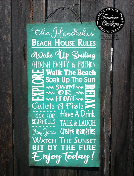 beach house wall art, beach decor, beach house rules, beach sign, beach house gift, beach sign personalized, beach house decoration