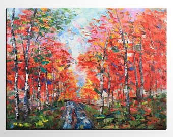 Landscape Oil Painting, Original Painting, Art Painting, Large Painting, Autumn Tree Painting, Bedroom Wall Art, Abstract Art Painting