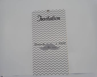 Invitation card in yellow and grey height