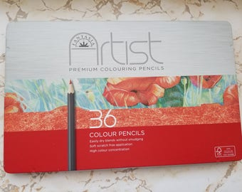 Fantasia Artist Colouring Pencils 36 Colour Pencils in Tin Never Used In Wrapping Colored Pencils