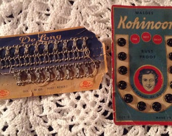 Vintage sewing notions craft project snaps hooks and eyes