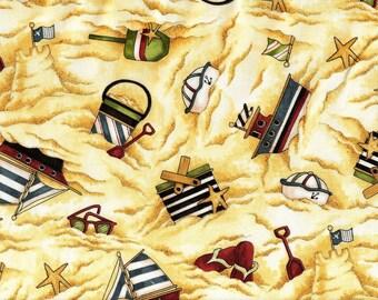 """Tissu coton """"Jouets sur la Plage"""" pour loisirs créatifs et patchwork"""