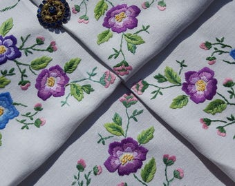 Stunning Vintage Plump Embroidered Blue and Purple Flowers Linen Tablecloth 32 x 33