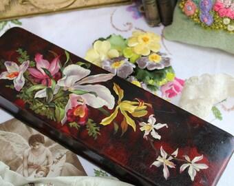 Stunning Antique Papier Mache Glove Box Hand Painted Colourful Flowers