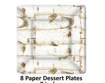 rustic dessert plates, birch tree bark, woodland wedding decorations, outdoors theme, nature, earth tones, Thanksgiving table, hostess gifts