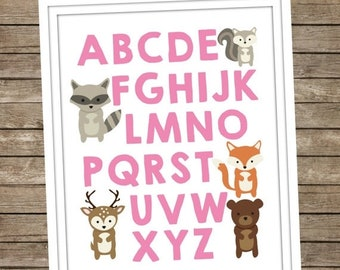 40%OFF Woodland Animal Alphabet Digital Print ~ Instant Download ~ ABC's ~ Nursery Decor ~ Baby Room ~ Woodland Fox Bear Deer ~ Girls ~ Pink