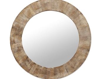 Round Mango wood Wall Mirror