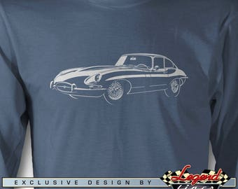 Jaguar E Type Coupe 3/4 Front View Long Sleeves T-Shirt - Lights of Art - Multiple colors - Size S - 3XL - British Classic Car Gift