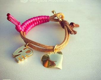 Love Bracelet. Heart Bracelet. Handmade Bracelet. Goldplated 24 k