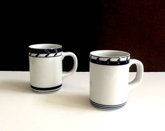 Dansk Concerto Allegro Accent Mugs, Set of 2, 11 Fluid Ounces, Made in Sri Lanka, White with Blue Motif