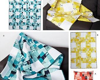 Simplicity 1390  Throw Pillows Cushions Pillow Covers Designer Pillow sNine Patch Twin Size Quilt-Lap Quilt-Pillow Sham