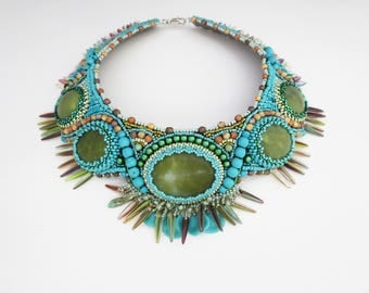 statement necklace - jade necklace - turquoise necklace - tribal jewelry - colorful jewelry - beaded necklace - clothing gift -