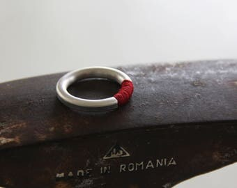 Silver and red ring, Silver and concrete band, Minimalist Ring, Contemporary ring, modern ring, stacking ring, unique ring, hadas shaham
