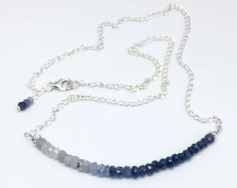 Blue Sapphire necklace, ombre Sapphire necklace, September birthstone necklace, Sapphire jewellery, delicate jewellery