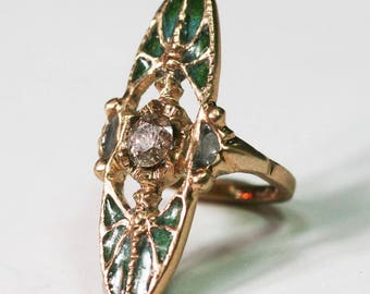 Vintage French Art Deco Art Nouveau 2 batterflies ring 3/4 carat diamond plique a Jour enamel ring attractive
