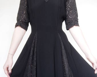 1940's Vampy Black Lace evening dress with flared skirt and sheer inlets in Wool Crape
