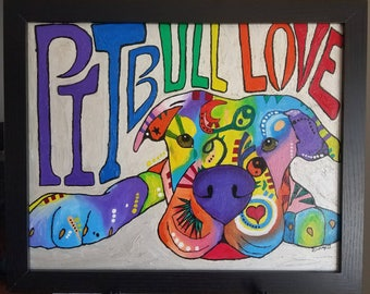 Pitbull Love Painting