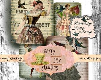 Gypsy Romany Love Song  Gift Tags   Digital  Vintage  Gypsy  Hang Tags  Printable Paper  Instant Download  Bohemian  Vintage Women  Ephemera