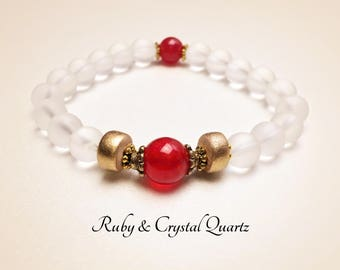 Ruby Bracelet. Mala Yoga Bracelet. REIKI. Meditation Bracelet. Protection Bracelet. Gemstone. Clear Crystal Bracelet. Power Bracelet. #M80