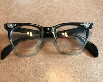 1950's vintage black eyeglasses with silver adornments- 50's cateye glasses - womens cateye frames