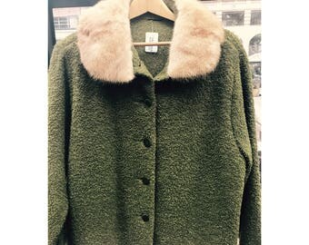 XL vintage green coat with mink collar - vintae mink coat - fur collar coat - large fur coat - XL fur coat